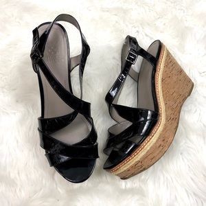 ⛱Vince Camuto Black Patent Strap Cork Wedges